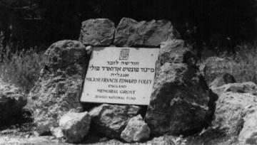 A memorial to Foley in Israel